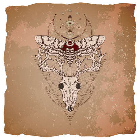 Vector illustration with hand drawn deer skull, dead head moth and Sacred geometric symbol on vintage paper background with torn edges. Abstract mystic sign. Image in sepia and red color.