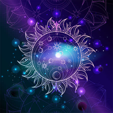 Vector illustration of Sacred geometric symbol against the space background with galaxy and stars. Mystic sign drawn in lines. Image in blue and purple color.