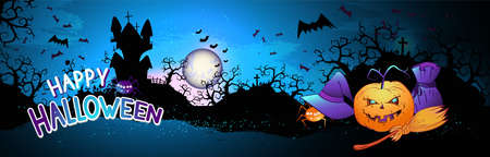 Vector illustration with pumpkins head, sinister castle, cemetery, bats and text on nightly background with full moon. Happy halloween.