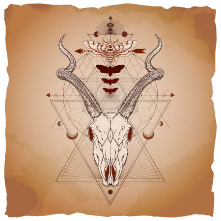Vector illustration with hand drawn antelope skull, dead head moth and Sacred geometric symbol on vintage paper background with torn edges. Abstract mystic sign. Image in sepia and red color. Ilustracja