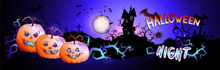 Vector Halloween illustration with pumpkins head, sinister castle, bats and text on nightly background with full moon. Halloween night.