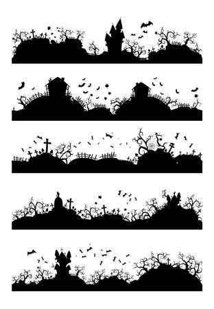 Vector set of Halloween horizontal seamless illustrations with castle, graveyard and bats. Black silhouettes.
