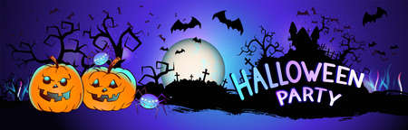 Vector illustration with pumpkins head, sinister castle, cemetery, bats and text on nightly background with full moon. Halloween party.