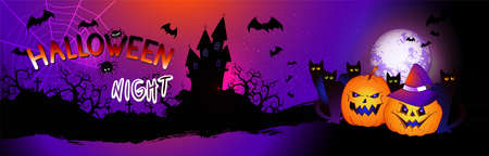 Vector illustration with pumpkins head, sinister castle, bats and text on nightly background with full moon. Halloween night.