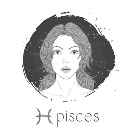 Pisces zodiac sign. Vector illustration with a beautiful horoscope symbol girl on grunge ink background. Monochrome.