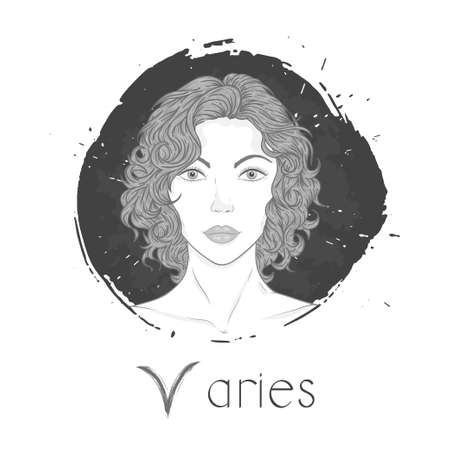 Aries zodiac sign. Vector illustration with a beautiful horoscope symbol girl on grunge ink background. Monochrome.