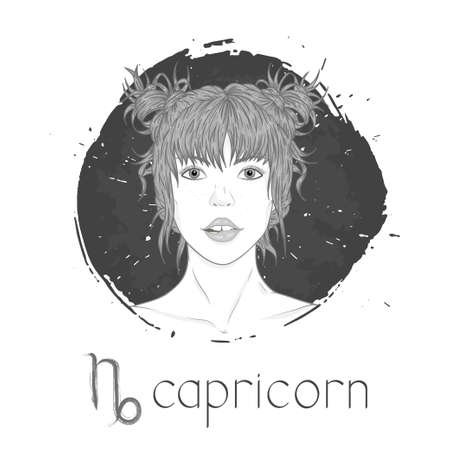 Capricorn zodiac sign. Vector illustration with a beautiful horoscope symbol girl on grunge ink background. Monochrome.