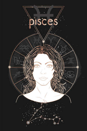 Gold astrology card. Zodiac sign Pisces, constellation and beautiful woman portrait on a dark background with horoscope circle. Vector image in gold and black color. Banque d'images - 160869524
