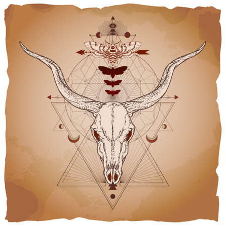 Vector illustration with hand drawn antelope skull, dead head moth and Sacred geometric symbol on vintage paper background with torn edges. Banque d'images - 161369856