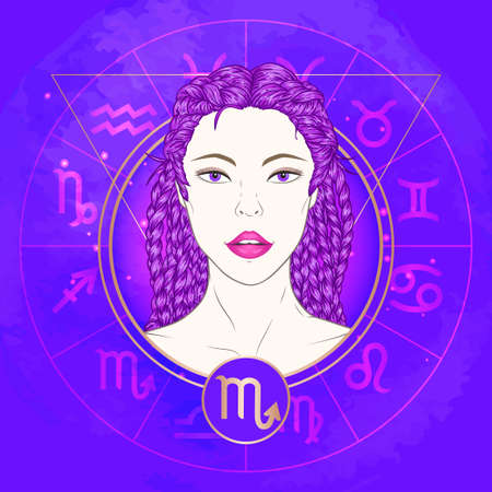 Vector illustration of Scorpio zodiac sign and portrait beautiful girl on abstract background with horoscope circle. Mysticism, esoteric, astrology. Illustration