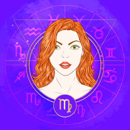 Vector illustration of Virgo zodiac sign and portrait beautiful girl on abstract background with horoscope circle. Mysticism, esoteric, astrology. Earth element. Illustration