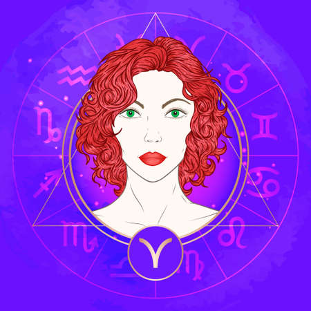 Vector illustration of Aries zodiac sign and portrait beautiful girl on abstract background with horoscope circle. Mysticism, esoteric, astrology. Fire element. Illustration