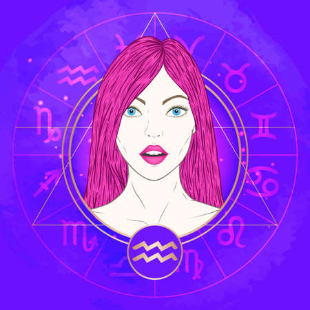 Vector illustration of Aquarius zodiac sign and portrait beautiful girl on abstract background with horoscope circle. Mysticism, esoteric, astrology. Air element.