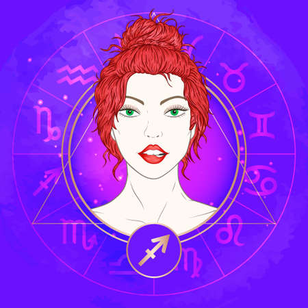 Vector illustration of Sagittarius zodiac sign and portrait beautiful girl on abstract background with horoscope circle. Mysticism, esoteric, astrology. Fire element. Banque d'images - 161680170