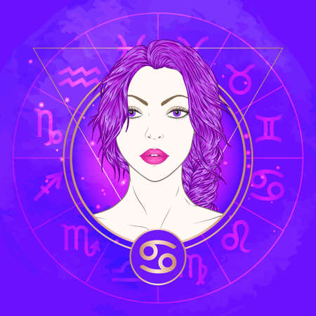 Vector illustration of Cancer zodiac sign and portrait beautiful girl on abstract background with horoscope circle. Mysticism, esoteric, astrology.Water element. Illustration