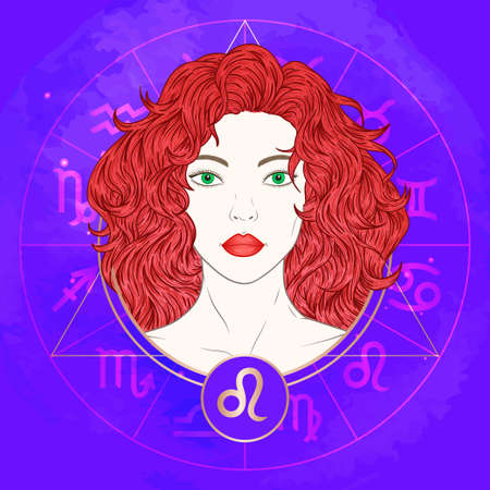 Vector illustration of Leo zodiac sign and portrait beautiful girl on abstract background with horoscope circle. Mysticism, esoteric, astrology. Fire element. Illustration