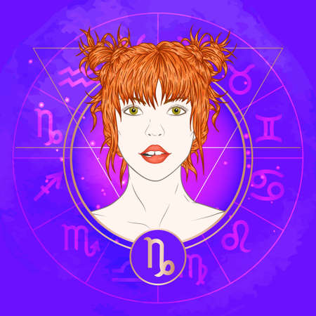 Vector illustration of Capricorn zodiac sign and portrait beautiful girl on abstract background with horoscope circle. Mysticism, esoteric, astrology. Earth element.