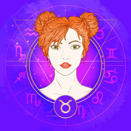 Vector illustration of Taurus zodiac sign and portrait beautiful girl on abstract background with horoscope circle. Mysticism, esoteric, astrology. Earth element.