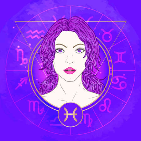 Vector illustration of Pisces zodiac sign and portrait beautiful girl on abstract background with horoscope circle. Mysticism, esoteric, astrology.Water element. Illustration