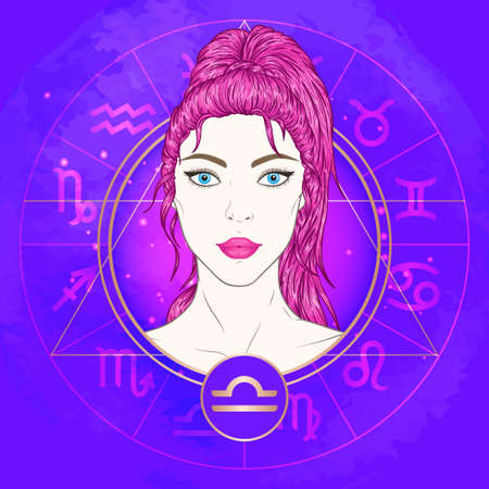 Vector illustration of Libra zodiac sign and portrait beautiful girl on abstract background with horoscope circle. Mysticism, esoteric, astrology. Air element.
