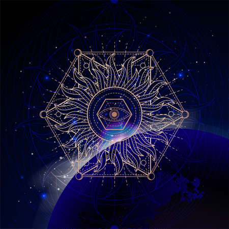 Vector illustration of Sacred geometric symbol against the space background with sunrise and stars. Mystic sign drawn in lines. Image in purple color.