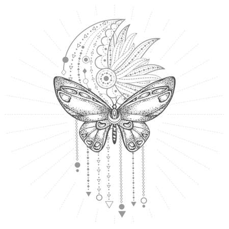 Vector illustration with hand drawn butterfly and Sacred geometric symbol on white background. Abstract mystic sign. Black linear shape. Banque d'images - 164293272