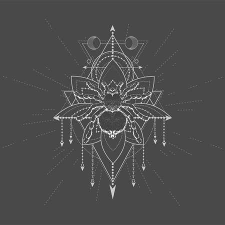 Vector illustration with hand drawn Spider Tarantula and Sacred symbol LOTUS on black background. Abstract mystic sign. White linear shape. 矢量图像