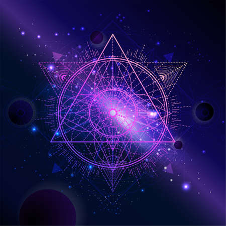 Vector illustration of Sacred geometric symbol against the space background with planets and stars. Mystic sign drawn in lines. Image in purple color. 矢量图像
