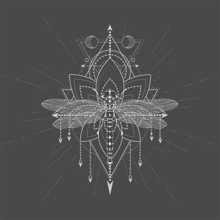 Vector illustration with hand drawn Dragonfly and Sacred symbol LOTUS on black background. Abstract mystic sign. White linear shape. 矢量图像