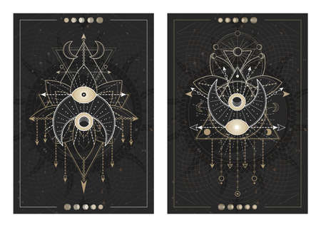 Vector dark illustrations with sacred geometry symbols, grunge textures and frames. Images in black, white and gold. 矢量图像