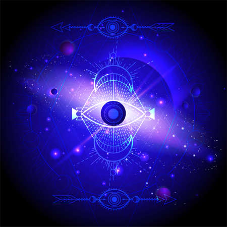 Illustration of Sacred geometric symbol against the space background with planets and stars. Mystic sign drawn in lines. Image in blue color.