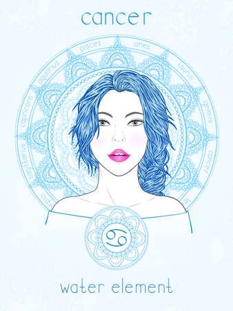 Vector illustration of Cancer zodiac sign, portrait beautiful girl and horoscope circle. Water element. Mysticism, predictions, astrology. 矢量图像