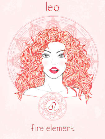 Illustration of Leo zodiac sign, portrait beautiful girl and horoscope circle. Fire element. Mysticism, predictions, astrology.
