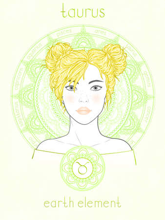 Vector illustration of Taurus zodiac sign, portrait beautiful girl and horoscope circle. Earth element. Mysticism, predictions, astrology.