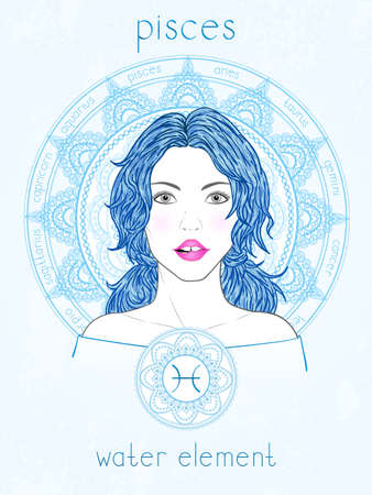 Vector illustration of Pisces zodiac sign, portrait beautiful girl and horoscope circle. Water element. Mysticism, predictions, astrology. 矢量图像