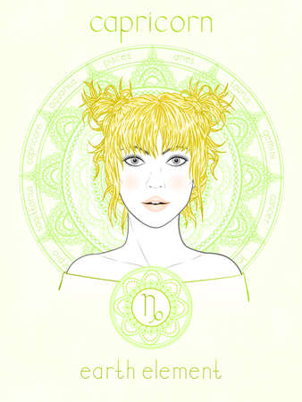 Vector illustration of Capricorn zodiac sign, portrait beautiful girl and horoscope circle. Earth element. Mysticism, predictions, astrology.