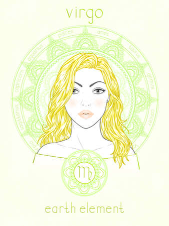 Illustration of Virgo zodiac sign, portrait beautiful girl and horoscope circle. Earth element. Mysticism, predictions, astrology.