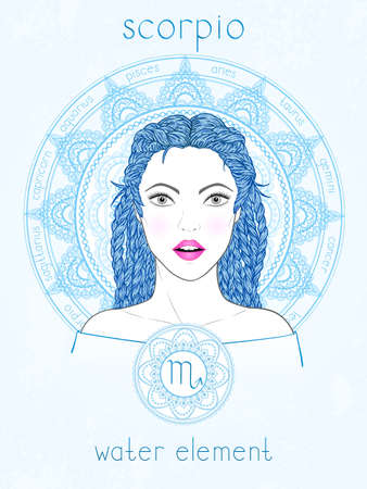 Illustration of Scorpio zodiac sign, portrait beautiful girl and horoscope circle. Water element. Mysticism, predictions, astrology.