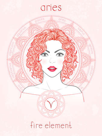 Illustration of Aries zodiac sign, portrait beautiful girl and horoscope circle. Fire element. Mysticism, predictions, astrology. 免版税图像