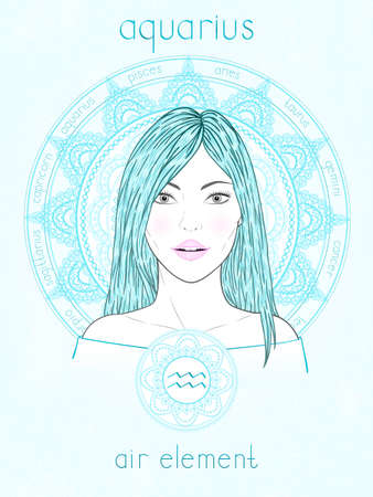 Vector illustration of Aquarius zodiac sign, portrait beautiful girl and horoscope circle. Air element. Mysticism, predictions, astrology. 矢量图像