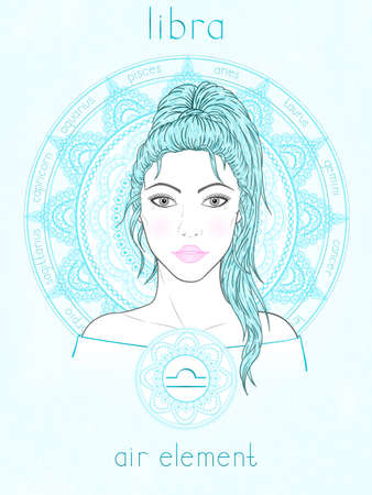 Vector illustration of Libra zodiac sign, portrait beautiful girl and horoscope circle. Air element. Mysticism, predictions, astrology. 矢量图像