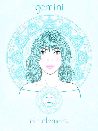 Vector illustration of Gemini zodiac sign, portrait beautiful girl and horoscope circle. Air element. Mysticism, predictions, astrology.
