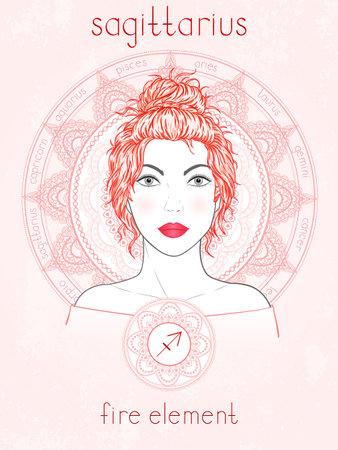 Vector illustration of Sagittarius zodiac sign, portrait beautiful girl and horoscope circle. Fire element. Mysticism, predictions, astrology. 矢量图像