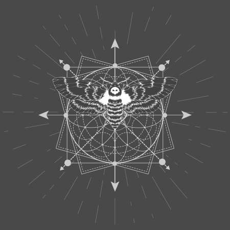Vector illustration with hand drawn butterfly Dead head and Sacred geometric symbol on black background. Abstract mystic sign. White linear shape.