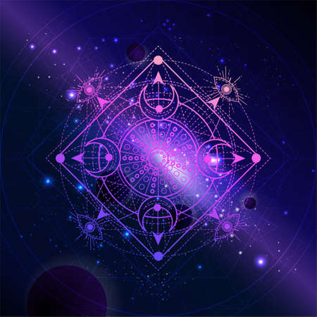 Geometric symbol against the space background with planets and stars. Mystic sign drawn in lines. Image in purple color. Zdjęcie Seryjne
