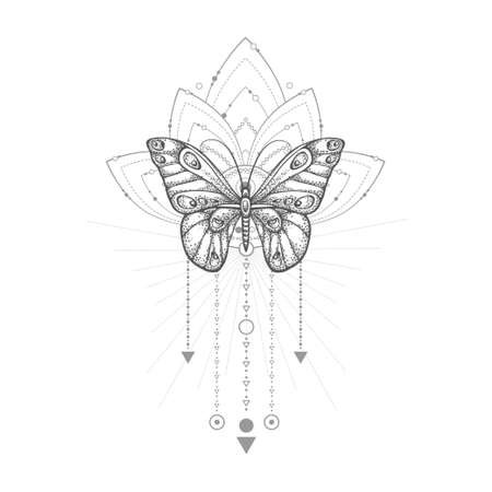 Vector illustration with hand drawn butterfly and Sacred geometric symbol on white background. Abstract mystic sign. Black linear shape.