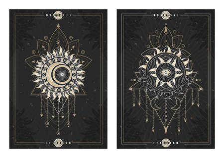 Dark illustrations with sacred geometry symbols, grunge textures and frames. Images in black, white and gold. Zdjęcie Seryjne