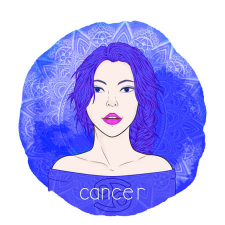 Astrology card with zodiac sign Cancer and beautiful woman portrait on a decorative watercolor background with pattern. Water element. Vector illustration.