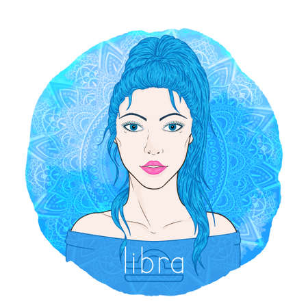 Astrology card with zodiac sign Libra and beautiful woman portrait on a decorative watercolor background with pattern. Air element. Vector illustration.