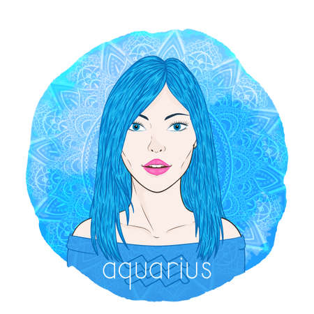 Astrology card with zodiac sign Aquarius and beautiful woman portrait on a decorative watercolor background with pattern. Air element. Vector illustration. Ilustracja